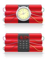 dinamite esplosiva e illustrazione vettoriale di un orologio