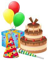 impostare le icone per l'illustrazione vettoriale di compleanno