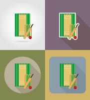 il campo da giuoco per l'illustrazione piana di vettore delle icone del cricket