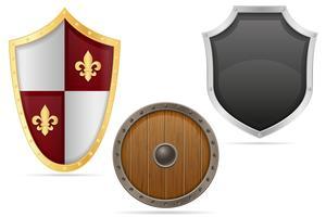 illustrazione vettoriale di scudo battaglia scudo medievale