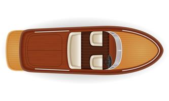 vecchio retro d'annata dell'imbarcazione a motore fatto dell'illustrazione di legno di vettore