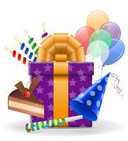 illustrazione di vettore delle icone di concetto di compleanno