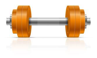 manubrio in metallo per costruzione muscolare in illustrazione vettoriale palestra