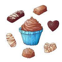 Set di cioccolatini cupcakes, disegno a mano. Vettore