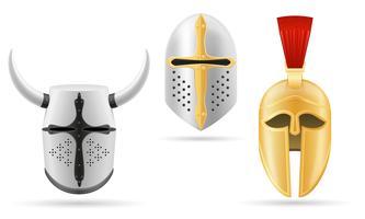illustrazione vettoriale stock di casco medievale di battaglia