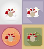 illustrazione piana di vettore delle icone del corredo dell'insieme del tamburo