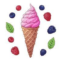 Insieme dell'illustrazione di vettore del cono gelato