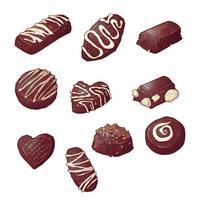 Impostare caramelle al cioccolato. Illustrazione vettoriale Disegno a mano