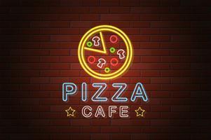 illustrazione d'ardore di vettore della pizza del caffè dell'insegna al neon