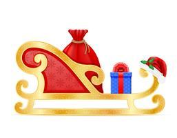slitte di Natale illustrazione vettoriale di Babbo Natale