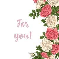 Rose di corallo di cartolina. Illustrazione vettoriale