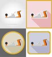 illustrazione piana di vettore delle icone piane di riparazione di jointer e degli strumenti della costruzione