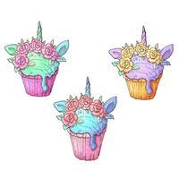 Impostare unicorno gelato. Illustrazione vettoriale Disegno a mano
