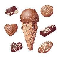 Impostare il dado al cioccolato gelato, disegno a mano. Illustrazione vettoriale