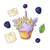 Set di cupcake alle bacche. Illustrazione vettoriale Disegno a mano