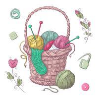 Una serie di vestiti lavorati a maglia gli aghi per maglieria. Disegno a mano Illustrazione vettoriale