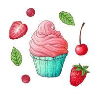 Un set di cupcake alla fragola e ciliegia. Disegno a mano Illustrazione vettoriale