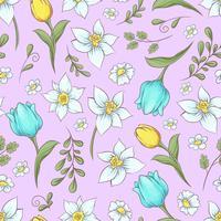 Modello senza cuciture dei tulipani dei daffodils. Illustrazione vettoriale di disegno a mano