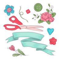 Set di accessori per cucire manichino. Disegno a mano Illustrazione vettoriale