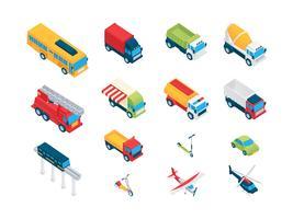 Set di clip art isometrica per il trasporto vettore
