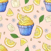 Modello senza cuciture di cupcake di frutta. Lavoro manuale. Illustrazione vettoriale