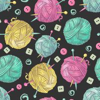 Seamless pattern a maglia a mano fiori ed elementi e accessori per uncinetto e maglieria