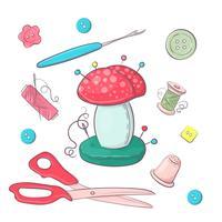 Set di accessori per cucire per aghi. Disegno a mano Illustrazione vettoriale
