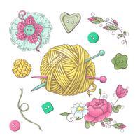 Set per fiori fatti a mano ed elementi ed accessori per uncinetto e maglieria vettore