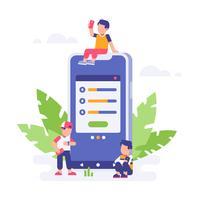 Le persone in attesa di download hanno finito con il grande smartphone e lo sfondo di foglie. illustrazione piatta pagina di destinazione