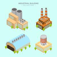 Raccolta isometrica moderna piana di vettore del fabbricato industriale