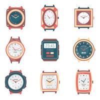 Diversi tipi di orologi Collezione di icone piatte