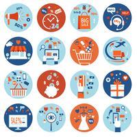 Set di acquisti online di e-commerce vettore