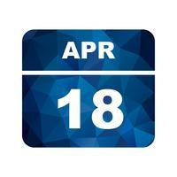 18 aprile Data su un calendario per un solo giorno