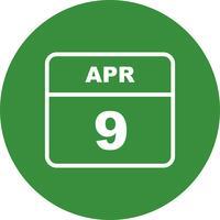 9 aprile Data su un calendario per un solo giorno