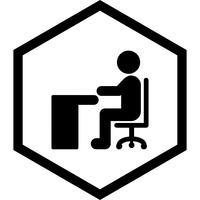Seduto su Desk Icon Design