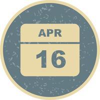 16 aprile Data su un calendario per un solo giorno
