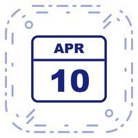 10 aprile Data su un calendario per un solo giorno vettore