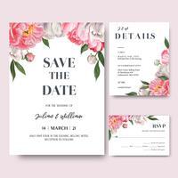 La peonia rosa fiorisce la carta dell'invito dei mazzi dell'acquerello, conserva la data, progettazione delle carte dell'invito di nozze. Illustrazione vettoriale