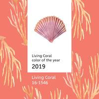 Colore Corallo 2019 alla moda, estate di vita marina della conchiglia viaggi la spiaggia, aquarelle illustrazione vettoriale isolato