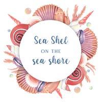 Sea shell wreath marine life summertime travel on the beach, aquarelle isolated, design vector illustration Colore corallo di tendenza