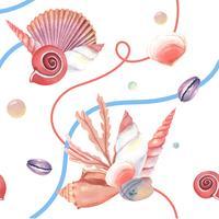 Modello di vita marina della conchiglia senza cuciture, estate di vacanza di viaggio sulla spiaggia, tessile di aquarelle isolato, illustrazione di vettore Corallo di colore.