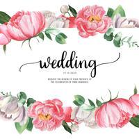 Acquerello floreale dell'acquerello delle carte di nozze dell'acquerello botanico del fiore di fioritura della peonia rosa. Scheda dell'invito della decorazione di progettazione, risparmi la data, vettore dell'illustrazione di matrimonio.