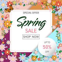 Il tempo di primavera fiorisce l'insegna e il fondo di vendita. Disegno vettoriale ESP10.