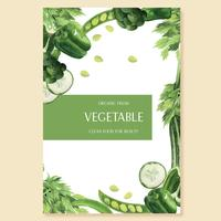 Azienda agricola verde di idea del menu del manifesto dell'acquerello delle verdure verdi, progettazione organica sana, illustrazione di vettore dell'acquerello