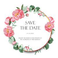 La peonia rosa avvolge i fiori dell'acquerello con testo, acquerello floreale isolato su fondo bianco. Arredamento di design per matrimonio di carte, poster di invito, banner. vettore