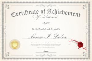 Modello retrò certificato o diploma vettore