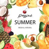 Banner di cornice di frutta tropicale con testo, frutto della passione con kiwi, ananas, modello fruttato, fresco e gustoso, illustrazione vettoriale isolato aquarelle