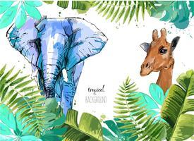 Sfondo con foglie tropicali, elefanti e giraffe.