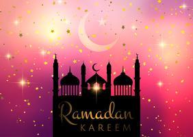 Priorità bassa di Ramadan Kareem con la siluetta della moschea su priorità bassa stellata vettore