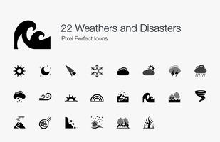 22 Weathers and Disasters Pixel Perfect Icons. vettore